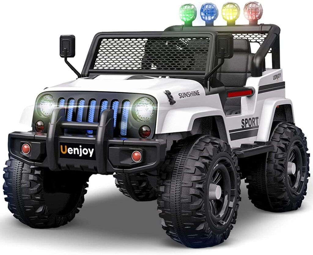 Uenjoy Electric Kids Ride On Cars 12V Battery Power Vehicles W/ Wheels Suspension, Remote Control, Music, Story Playing, Colorful Lights, Sunshine Model, White